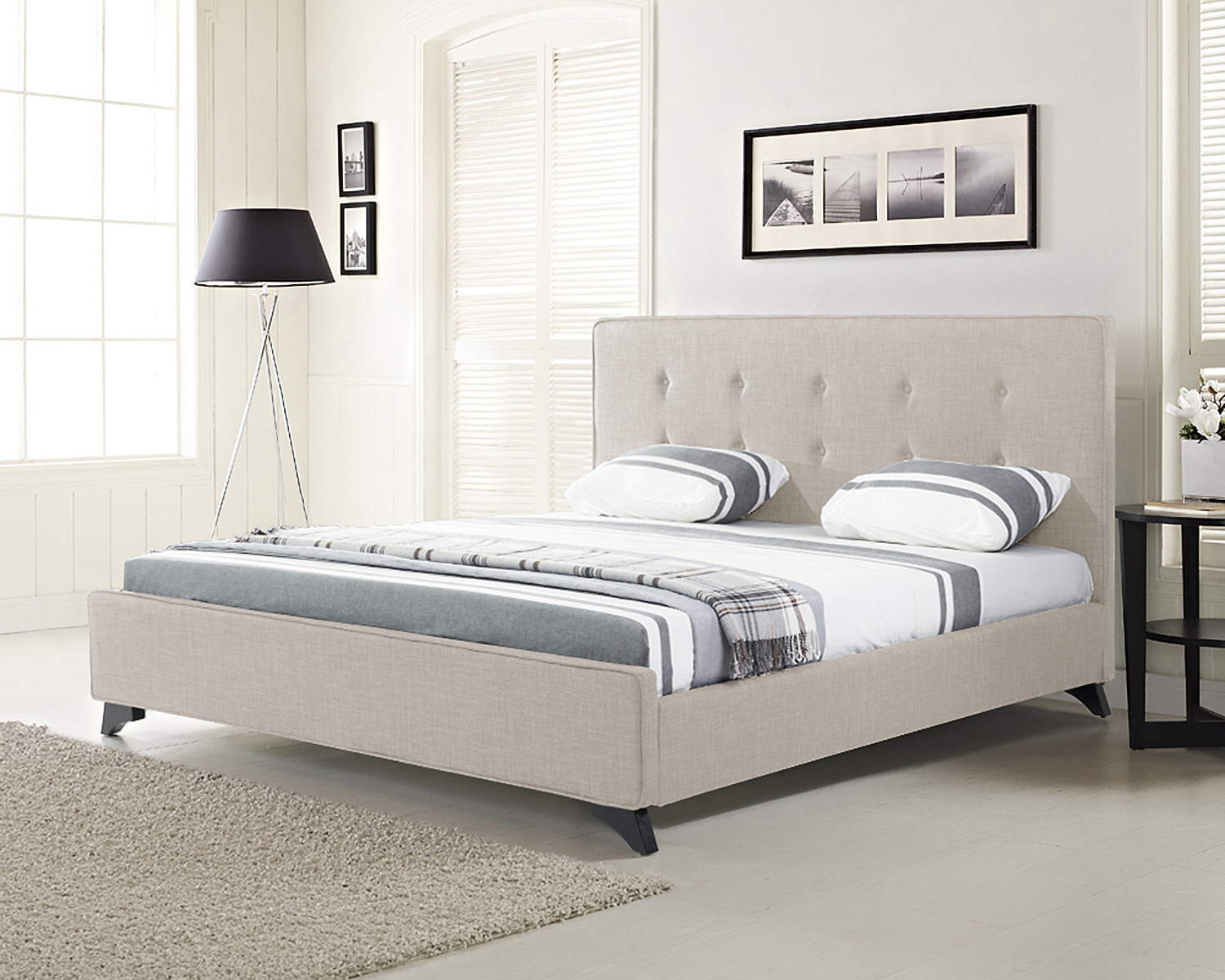 Bed king size 160x200 cm bedroom upholstered fabric for Upholstered divan bed