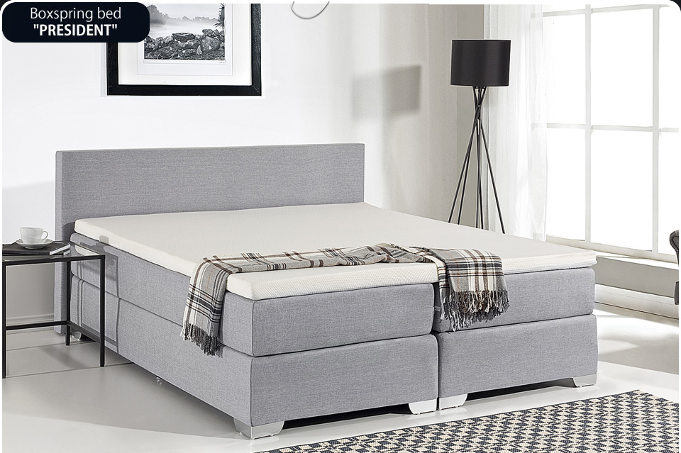 Box spring bed divan furniture 160 x 200 cm king size for Grey divan king size bed