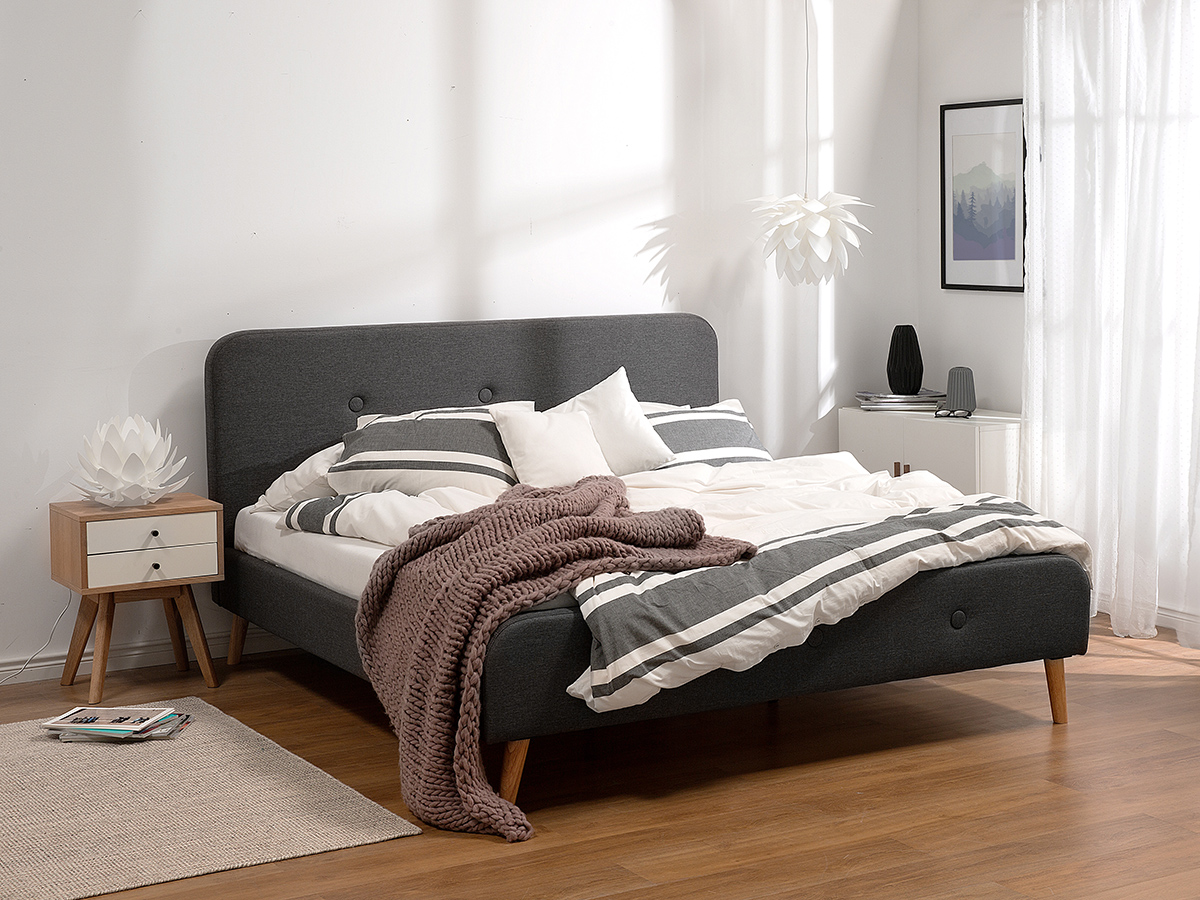 bett grau mit lattenrost doppelbett polsterbett designerbett 180x200 cm ebay. Black Bedroom Furniture Sets. Home Design Ideas