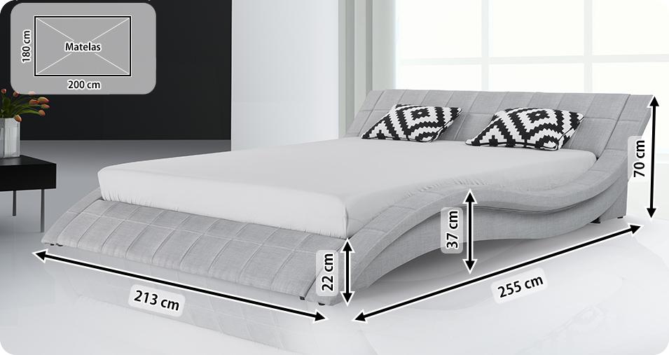 Lit 180x200 cm lit tissu lit double baar acheter sur - Dimensions draps lit 180 sur 200 ...