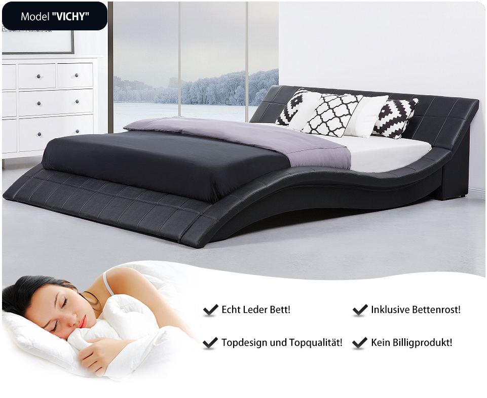 doppelbett schwarz 180x200 lederbett in baar kaufen bei. Black Bedroom Furniture Sets. Home Design Ideas