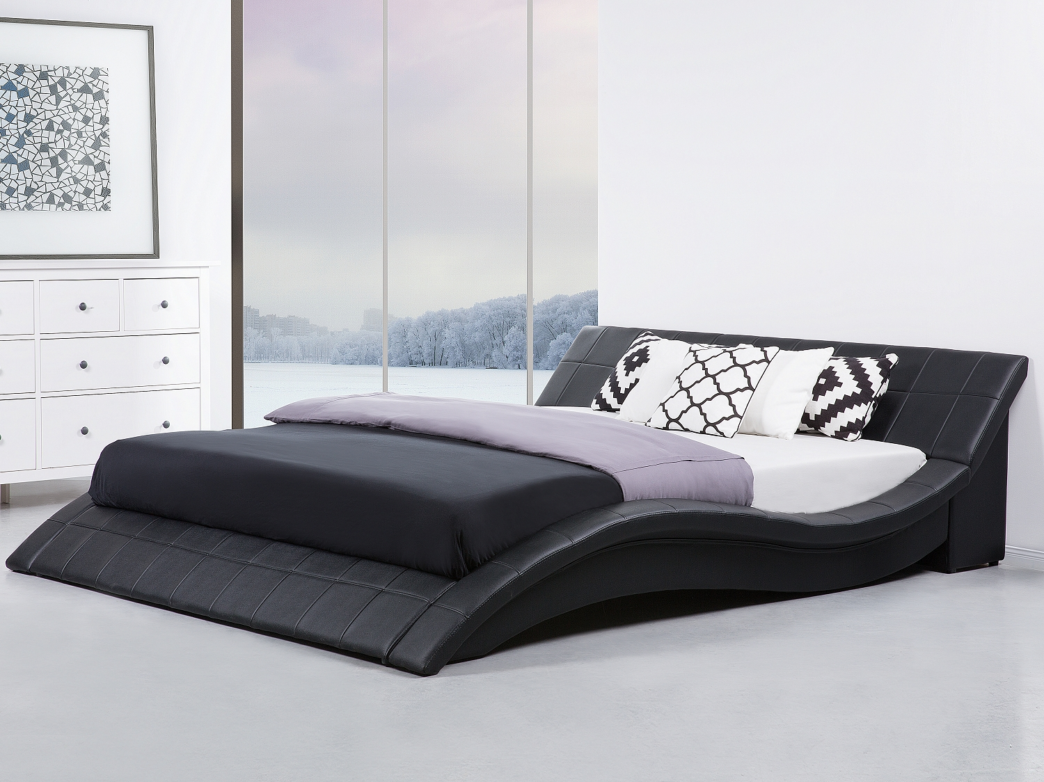 modern king size bed frame sleigh 6ft genuine leather headboard wave black glam ebay. Black Bedroom Furniture Sets. Home Design Ideas