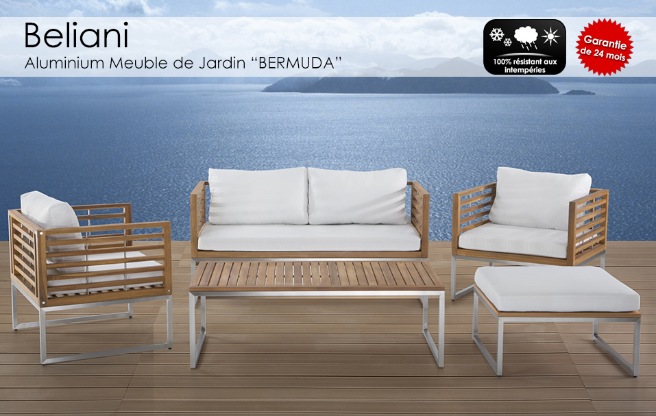 Meubles en acier et teck table sofa baar acheter sur for Meuble de jardin seconde main