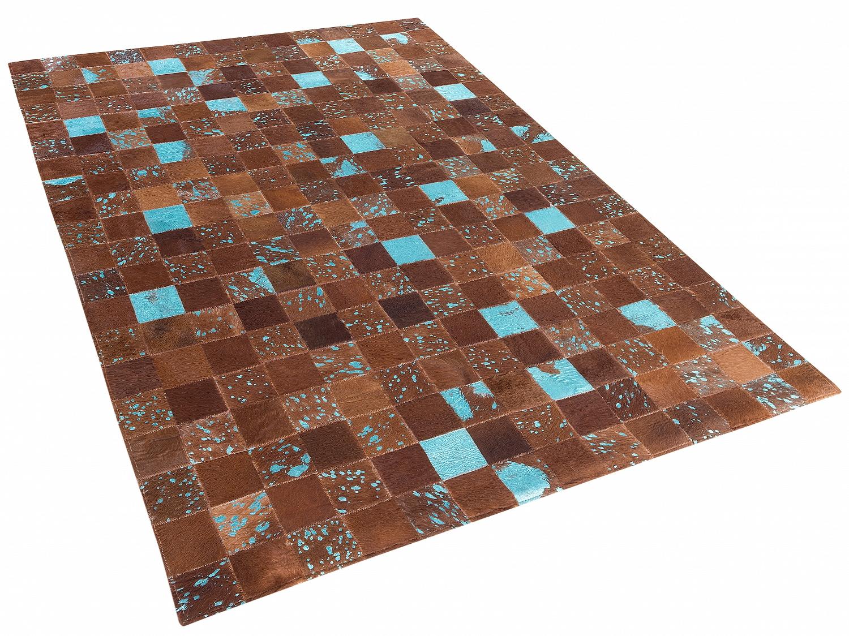 Tapis-en-cuir-Brun-avec-motifs-bleu-Tapis-design-80x150-cm-Raye