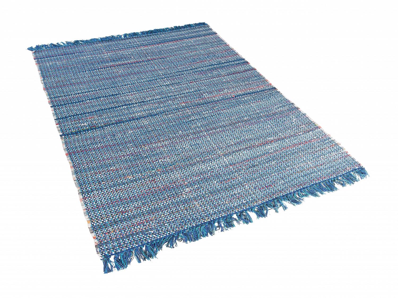 teppich blau baumwolle l ufer vorlage wohnzimmerteppich kurzflor 140x200 cm ebay. Black Bedroom Furniture Sets. Home Design Ideas