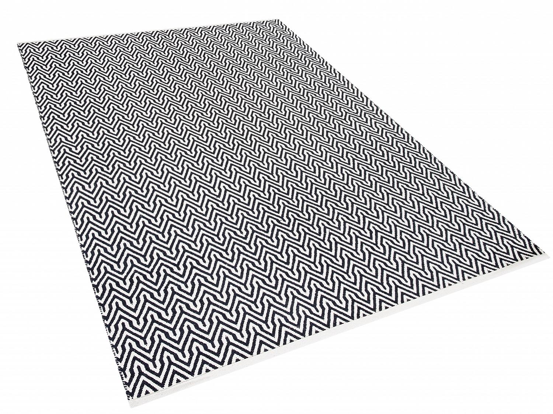 teppich schwarz weiss l ufer wohnzimmerteppich vorlage 160x230 cm kurzflor ebay. Black Bedroom Furniture Sets. Home Design Ideas