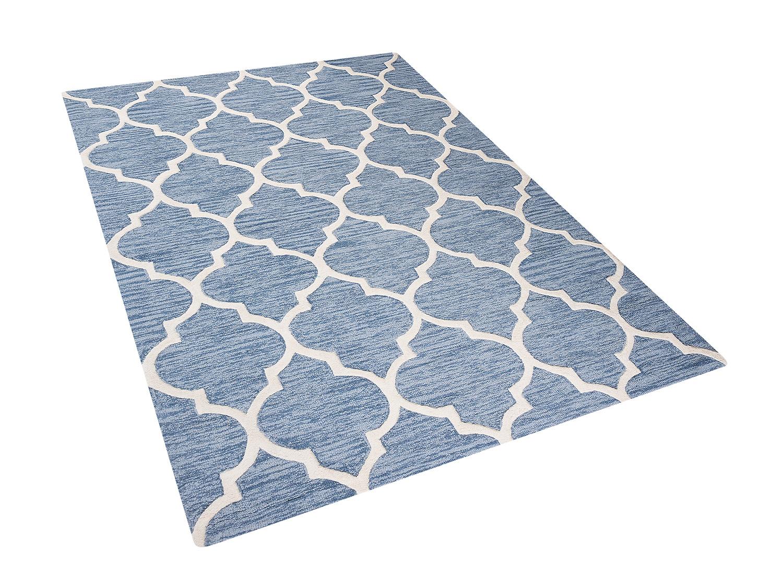 teppich hellblau l ufer vorlage rechteckig schlafzimmer wolle baumwolle 160x230 ebay. Black Bedroom Furniture Sets. Home Design Ideas