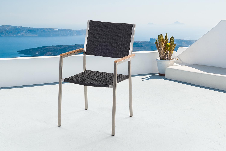 garden settee chair dining chair backyard rattan steel chair