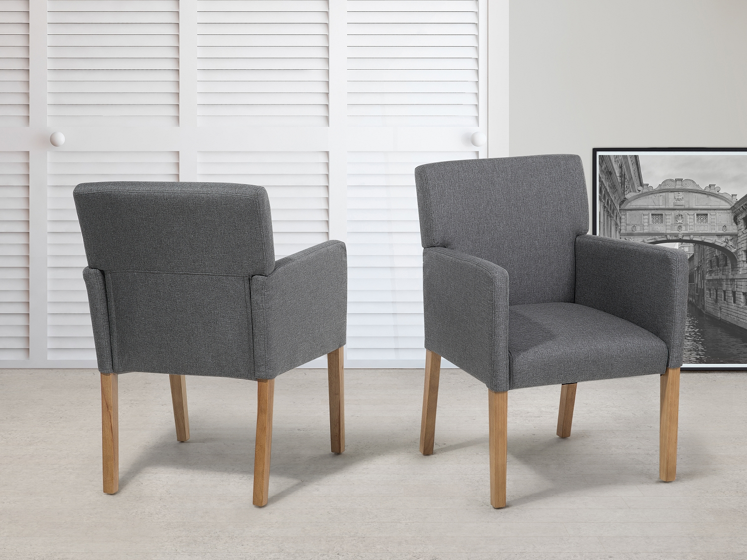 luxury pair of walnut dining chairs with grey fabric upholstered seat