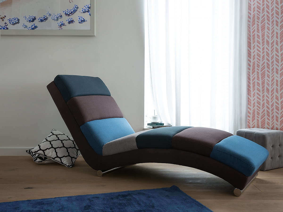 Chaise longue fabric sofa floor lounger lounge chair day for Chaise longue ebay