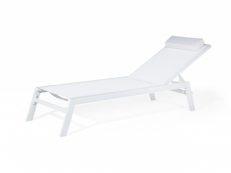 gartenliege weiss sonnenliege liegestuhl relaxliege strandliege textil ebay. Black Bedroom Furniture Sets. Home Design Ideas