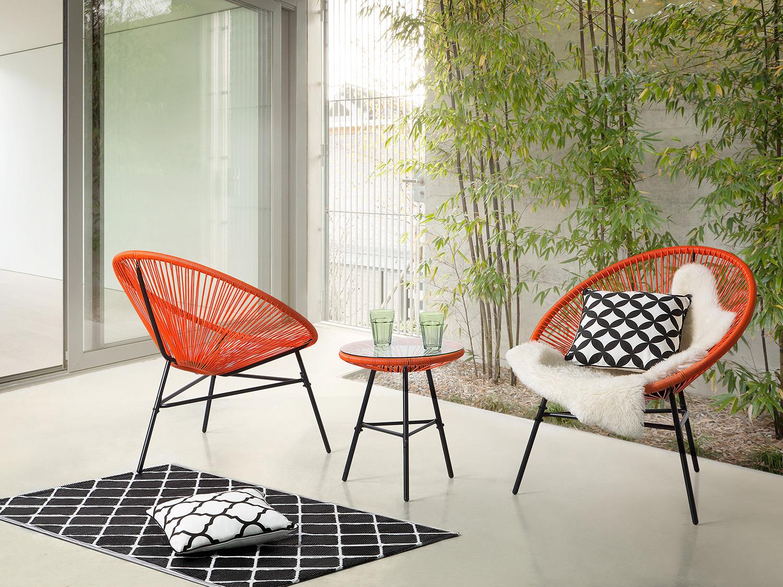 Gartenmöbel Orange, Balkonmöbel, Terrassenmöbel, Tisch mit 2 Stühlen ...