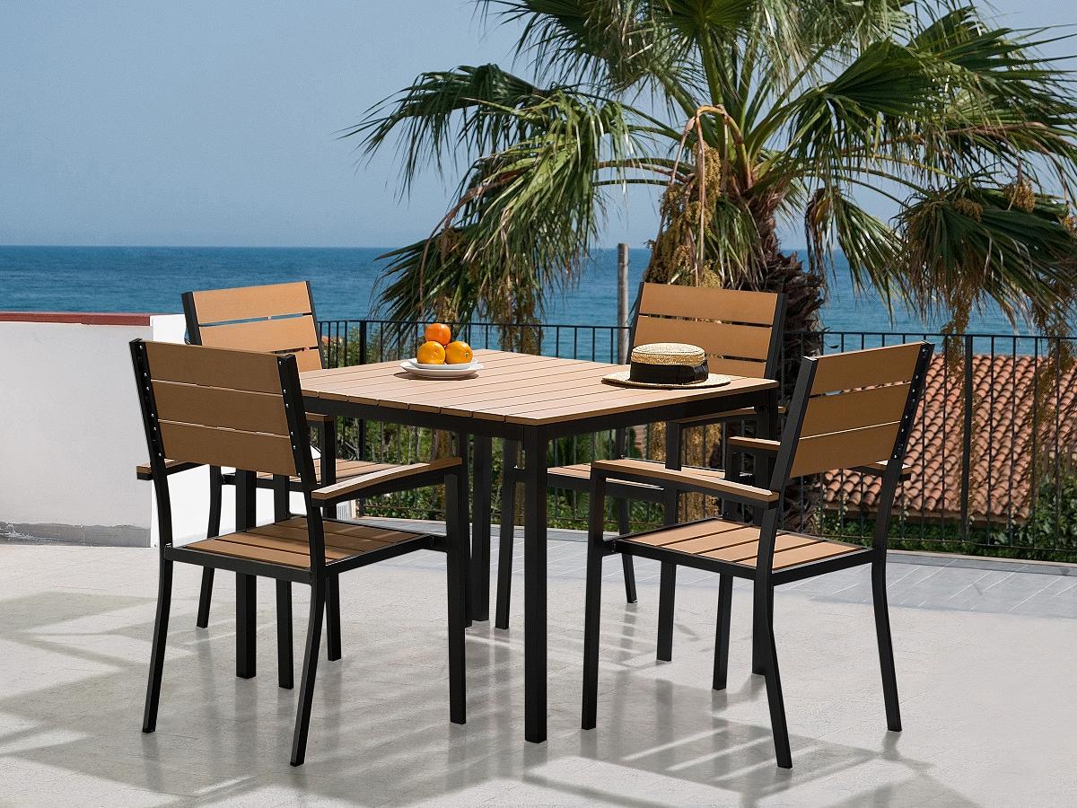 Mobilier de jardin table et 4 chaises aluminium et for Set table jardin