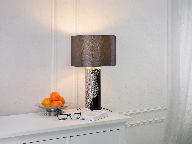 Lampe poser design argent lampe de salon noir et for Grosse lampe de salon a poser