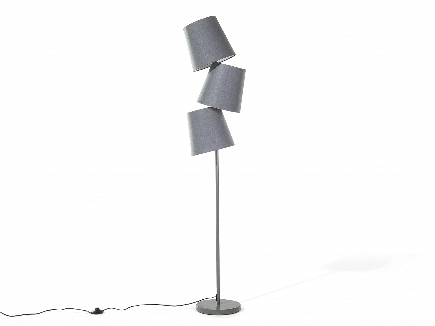 Lampadaire lampe de salon 3 abat jours design gris style contemporain ebay - Lampe de salon ...