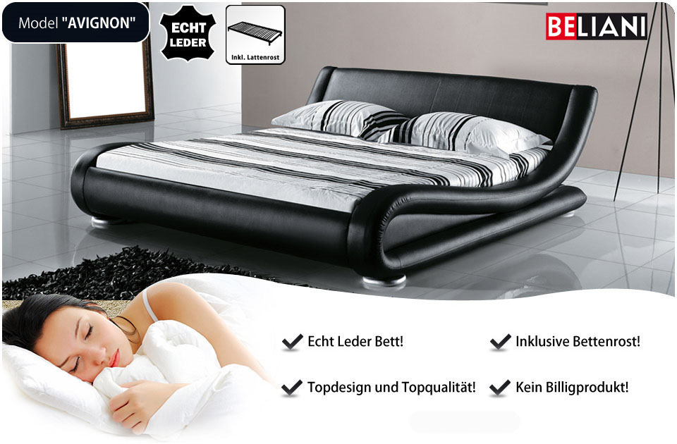 doppelbett schwarz lederbett 180x200 in baar kaufen bei. Black Bedroom Furniture Sets. Home Design Ideas
