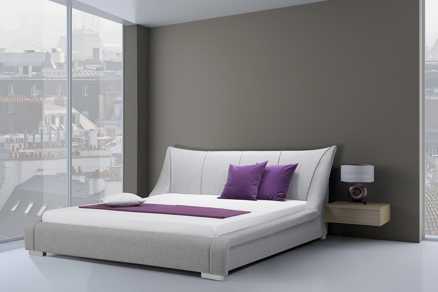 Grey Upholstered King Size Bed