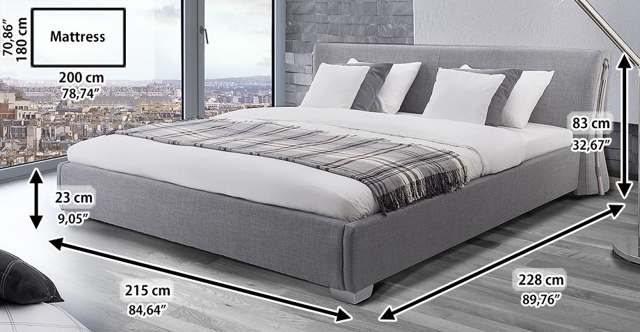 grey paris 180x200 cm upholstered bed super king size 6 inch with slatted frame. Black Bedroom Furniture Sets. Home Design Ideas