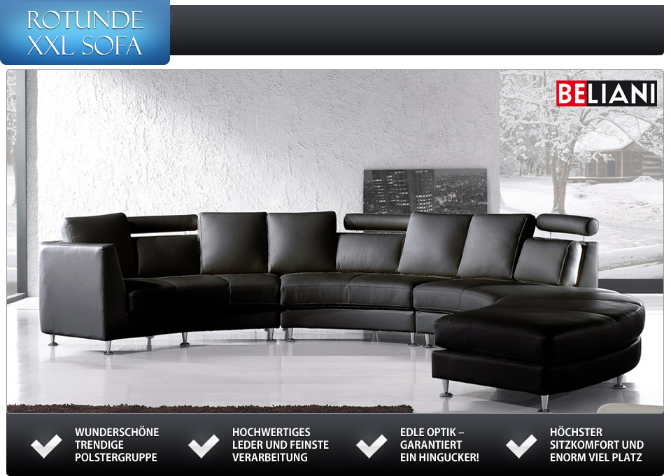 rundes sofa leder ledercouch schwarz in baar kaufen bei. Black Bedroom Furniture Sets. Home Design Ideas