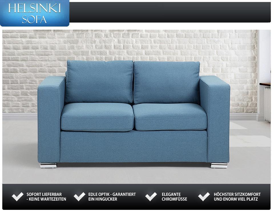 sofa blau 2 sitzer stoffsofa couch in baar kaufen bei. Black Bedroom Furniture Sets. Home Design Ideas