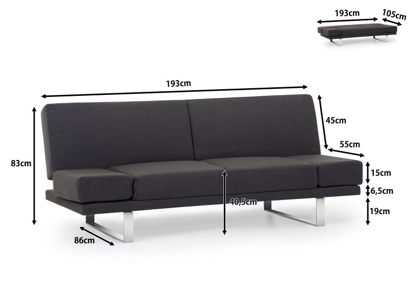 Sofa couch schlafsofa dunkelgrau in baar kaufen bei for Schlafsofa york
