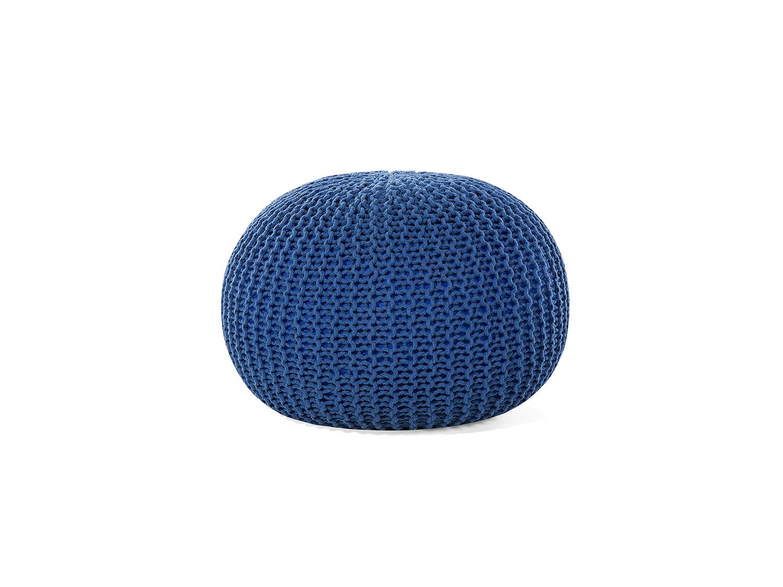 Pouf-boule-50-cm-Coton-bleu-Pouf-rond-bleu-Coton-tricote-Repose-pied
