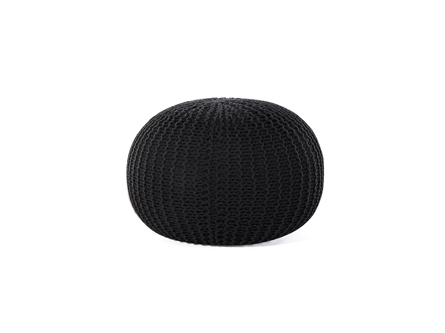 pouf boule 50 cm en coton noir pouf rond noir coton tricot repose pied ebay. Black Bedroom Furniture Sets. Home Design Ideas