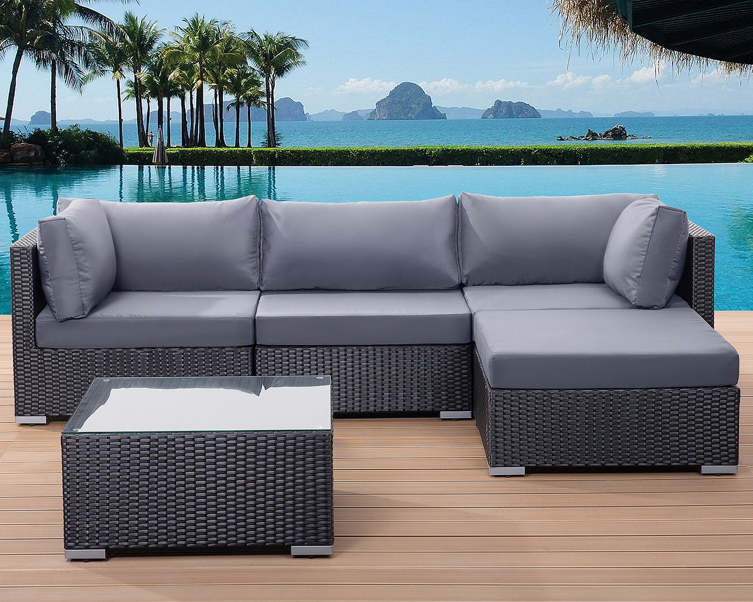 patio settee garden poly rattan lounge sofa set black grey cushions ebay. Black Bedroom Furniture Sets. Home Design Ideas
