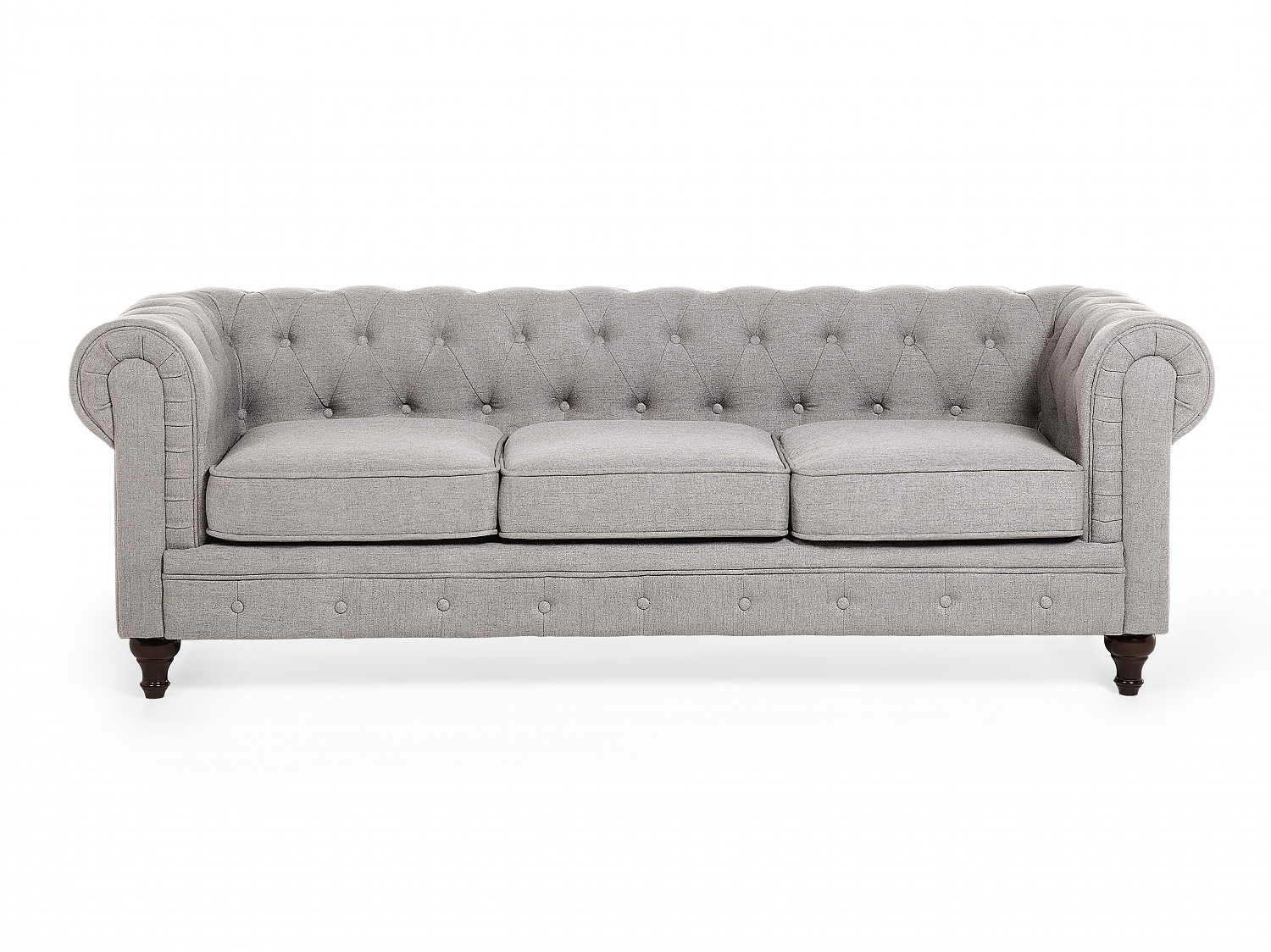 Chesterfield sofa 3 sitzer sofa quilted light grey fabric for Sofa 1 5 sitzer