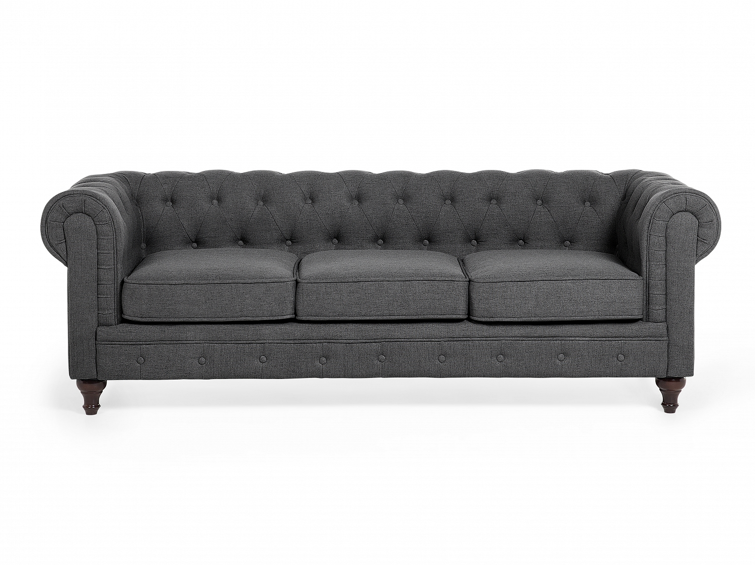 chesterfield sofa 3 sitzer sofa quilted grey fabric ebay. Black Bedroom Furniture Sets. Home Design Ideas
