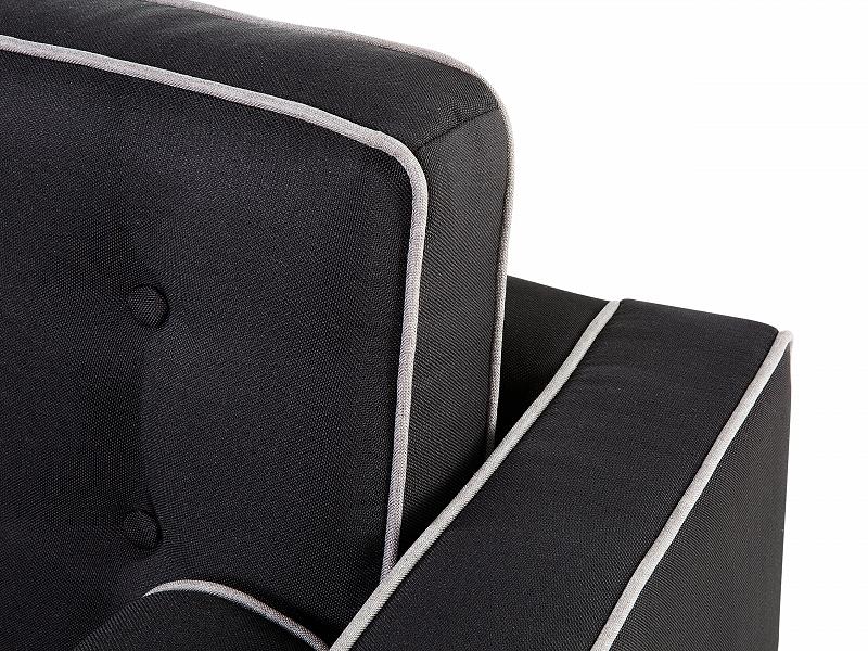 Sofa Tufted Trimming Rolled Cushions Long Dark Grey Ebay