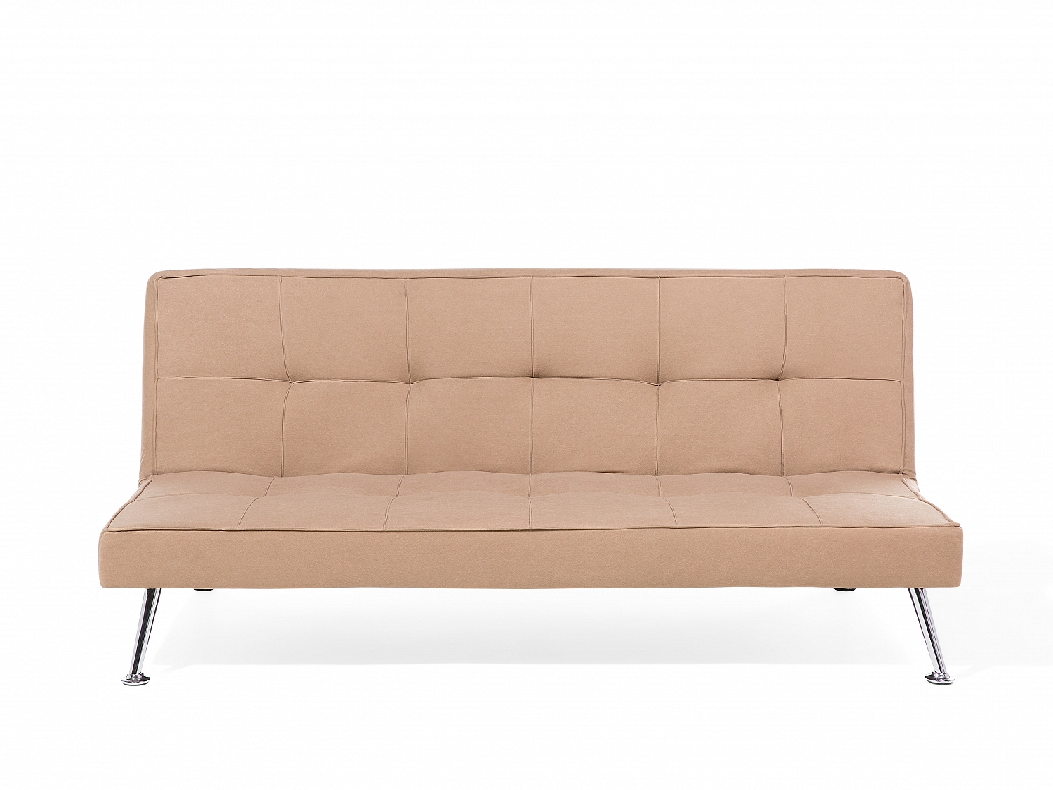 sofa bed fabric beige 3 seater tufted chrome legs ebay. Black Bedroom Furniture Sets. Home Design Ideas