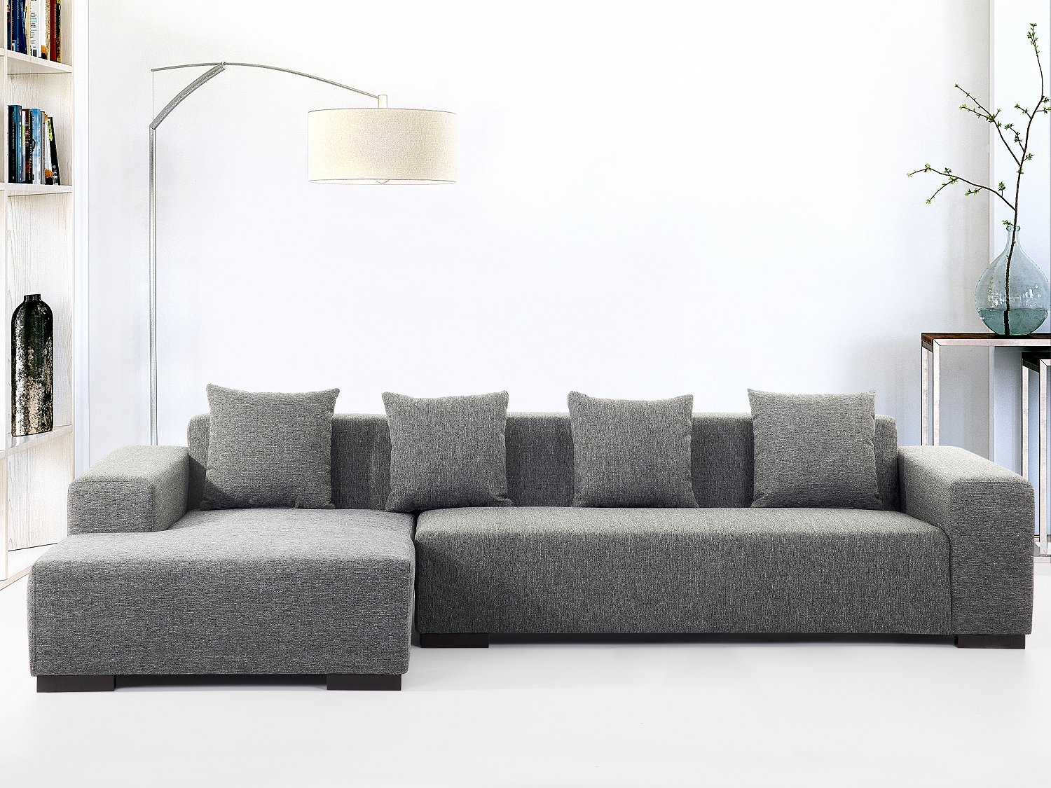 Sofa Lounge Corner Sofa 5 Seater Upholstered Living Room Right Dark Grey