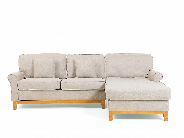 Corner Sofa Bed Fabric Modular L Shaped Light Brown