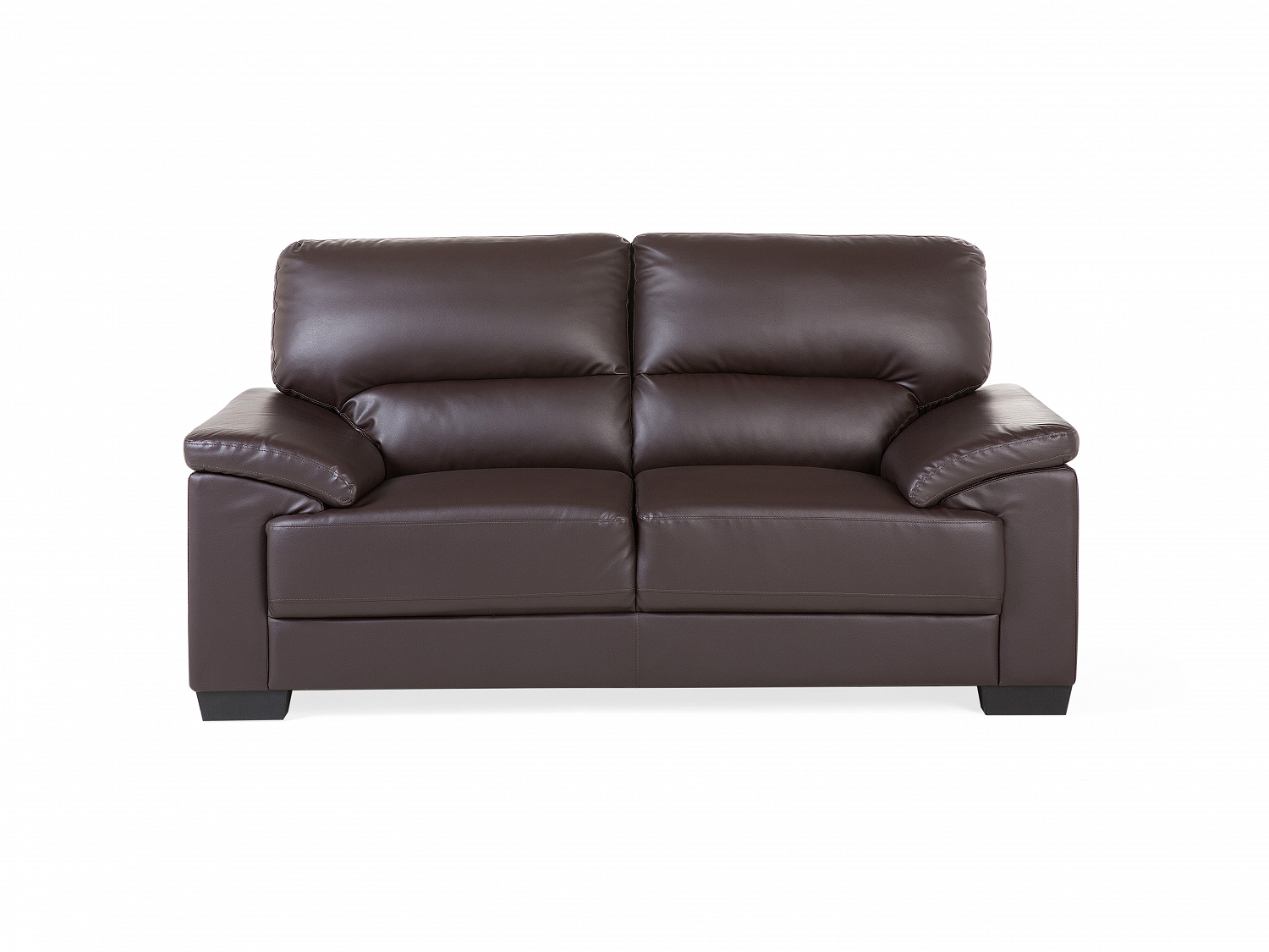 Brown faux leather sofa couch 2 seater settee love seat for Sofa 1 5 sitzer