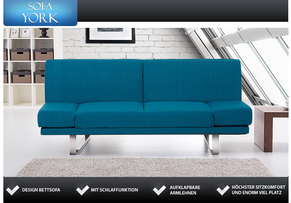 3er sofa bettfunktion gewebe blau in baar kaufen bei for Schlafsofa york