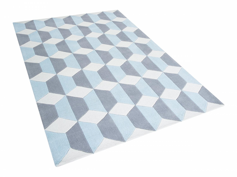 teppich blau grau weiss polyester vorlage rechteckig kurzflor 160x230 cm l ufer ebay. Black Bedroom Furniture Sets. Home Design Ideas