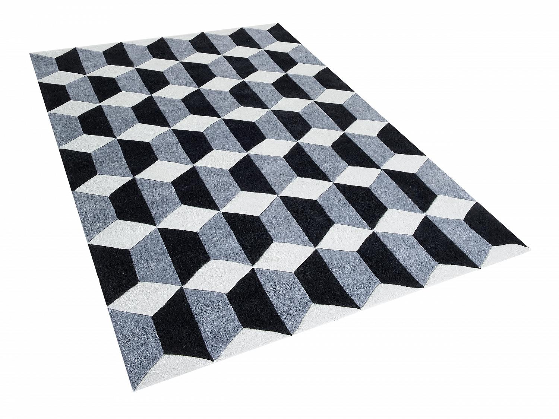 teppich schwarz grau weiss polyester vorlage rechteckig. Black Bedroom Furniture Sets. Home Design Ideas