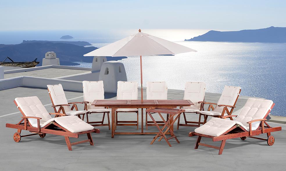 Edle Luxus Gartengarnitur inklusive Sitzauflagen und Sonnenschirm