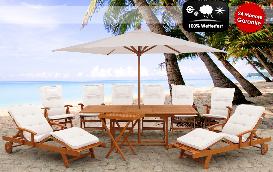 Gartenmobel Aus Bambus Und Rattan :  Edle Luxus Gartengarnitur inklusive Sitzauflagen und Sonnenschirm